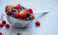 Mixed berries in a colander