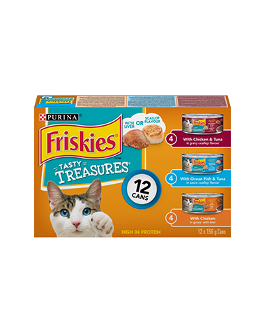 Purina® Friskies® Tasty Treasures® with Liver or Scallop Flavor Wet Cat Food Variety Pack